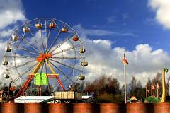 Amusement Park in Halmstad, Sweden (Becky Stillions Photography) Tags: travel canon outdoors sweden naturallight bluesky ferriswheel amusementpark rides halmstad rebelxti omot stillsweet beckystillionsphotography