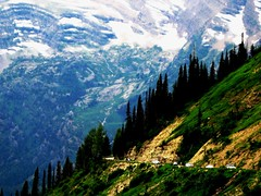 Going to the Sun Road , Glacier National Park, Montana (moonjazz) Tags: auto road park trees mountain snow cars nature beauty wow wonder rockies climb high montana slow top glory pass peak glacier alpine pines waterfalls winding glaciernationalpark curve awe viewpoint range steep mywinners