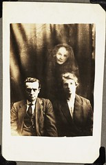 Couple with a female spirit (National Media Museum) Tags: portrait sepia couple doubleexposure ghost fake paranormal occult seated espectro fantasma espirito hoax spiritualist spiritism spiritphotograph nationalmediamuseum badosa:obra=n296