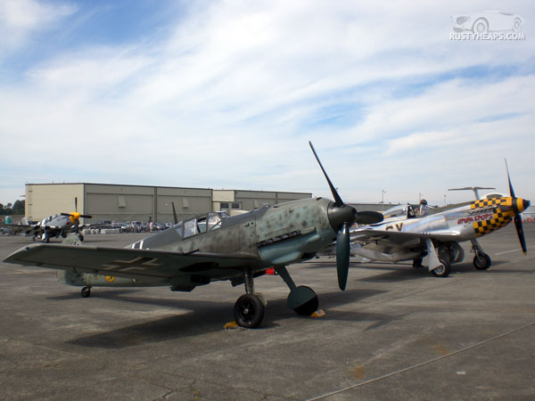 Messerschmitt Bf 109E-3 and North American P-51D Mustang