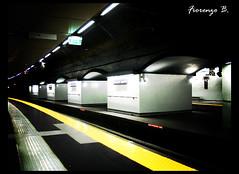 Genova underground (Fiorenzo B.) Tags: train photoshop dark underground lomo tube rail trains genova rails treno metropolitana nero scuro treni banchina sagostino mywinners trasportopubblico sarzano estate2008