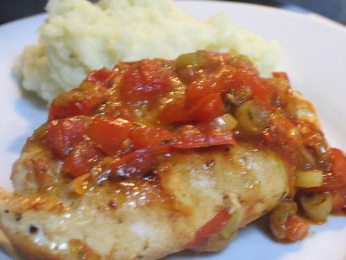 Pan-roasted boneless chicken breasts with tomato pan sauce