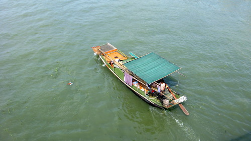 A boat on the Yellow River near Luxu, Jiangsu Province, China