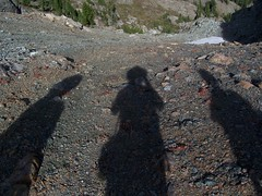 Our shadows on the saddle of Esmerelda.