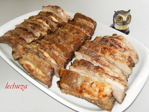 Churrasco cerdo-fuente cortada