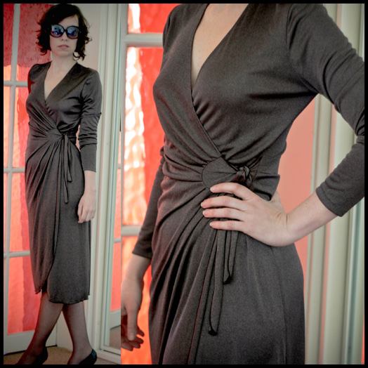eBay now! 70s brown shimmer wrap dress