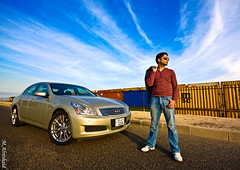 G35 & Mr. Cool (Mishari Al-Reshaid Photography) Tags: road sky man guy sunglasses skyline clouds standing photoshop canon eos japanese cool model automobile nissan wide sigma jeans kuwait autos 2008 canondslr 1020 canoneos g35 photoshopcs2 automobiles kuwaitcity infiniti q8 carphotos carphotography mrcool nissanskyline wideanglelens gtm infinitig35 carphoto canoncamera canonphotos sigma1020 q80 40d sigmawidelens mishari aplusphoto kuwaitphoto kuwaitphotos sigmaexlens canoneos40d canon40d kuwaitcars excapture kuwaitartphoto gtmq8 kuwaitart kuwaitvoluntaryworkcenter kuwaitvwc grendizer99 kuwaitphotography grendizer99photos canon40ddslr misharialreshaid malreshaid misharyalrasheed