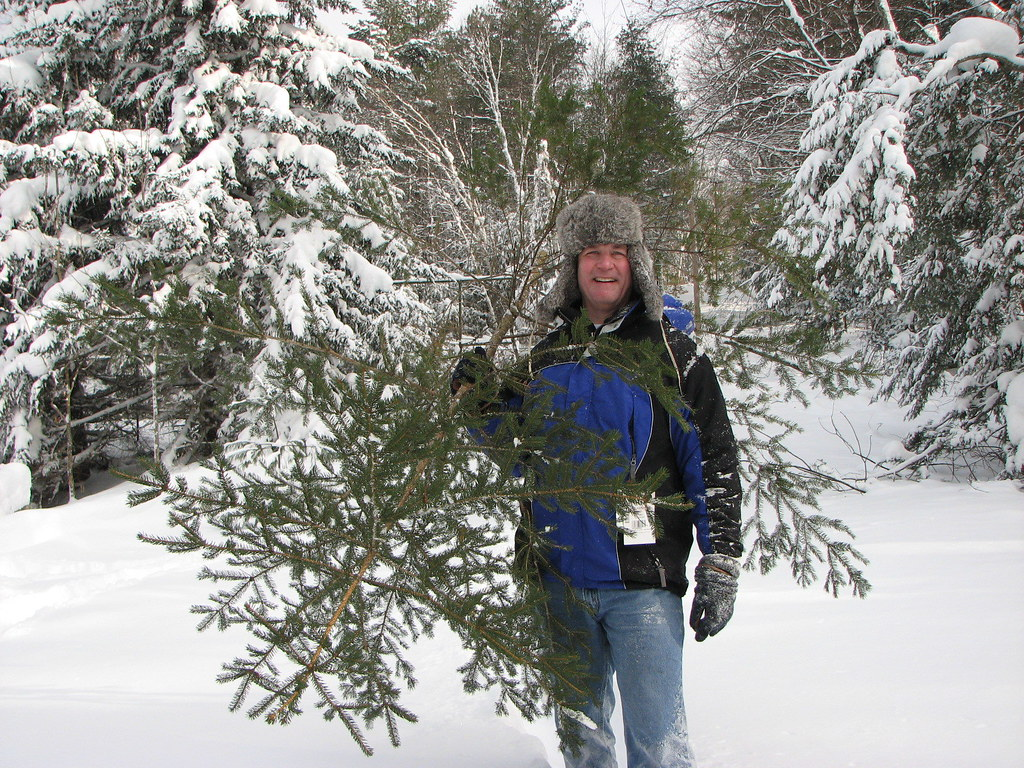 "Me, ""flaps down,"" with our sincere tree"