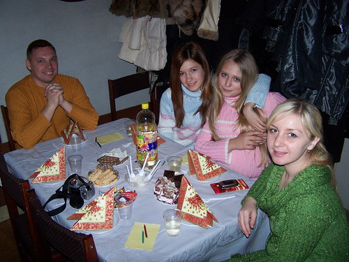 Ruslan, Karina, Marina, and Anya at our church Christmas party