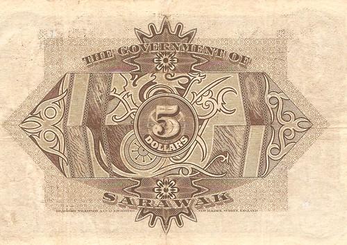 $5 1/1/1938 Sarawak Bank Note