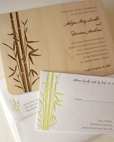 Bamboo wedding invitation set, Bamboo designs, wedding invitation, wedding cakes, flowers, invitation, photos, gowns, dresses