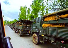 Indian Army trucks near Jammu