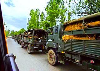 Indian Army trucks near Jammu