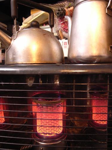 Kettles on a heater