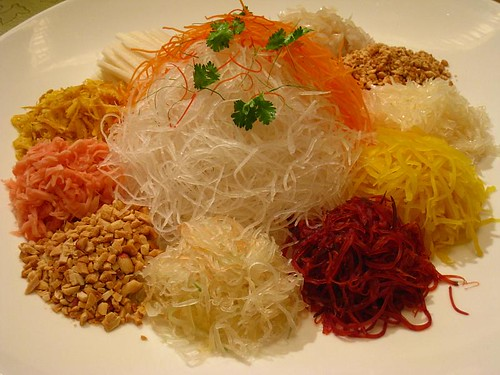 Yu Sheng (before adding fish, spices, sauces & flour crisps)