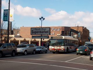 Southbound CTA bus on North Clark Street. Chicago Illinois. November 2006.