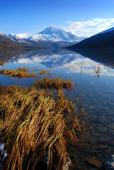 Eklutna Lake (:GRJohnson:) Tags: park blue autumn mountain lake snow seascape mountains reflection nature grass alaska landscape outdoors nikon october scenic wetlands matsu eklutna flickrchallengegroup flickrchallengewinner d40x anotherchallengegroup acg1stplacewinner