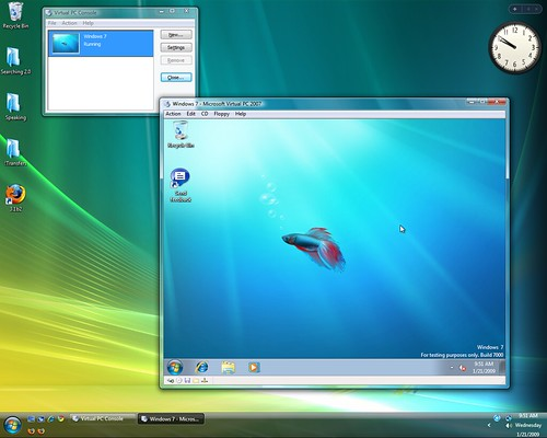 Windows 7 beta running in Vista via VirtualPC 2007