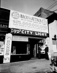 War bonds signs, 1944 (Seattle Municipal Archives) Tags: seattle wwii worldwarii 1940s westseattle warbonds seattlecitylight seattlemunicipalarchives