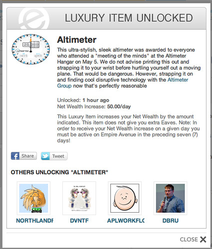 First Branded Good in Empire Avenue: The Altimeter
