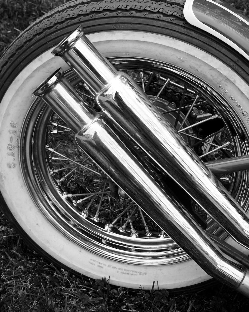 Vintage Triumph Motorcycle-Wheel & Muffler