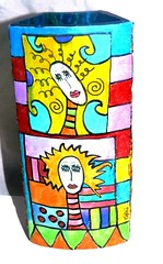 pop ART vase (**mira pinki krispil-colors of life ***) Tags: sculpture art cat handmade fimo clay vase pinki polymer mirakris