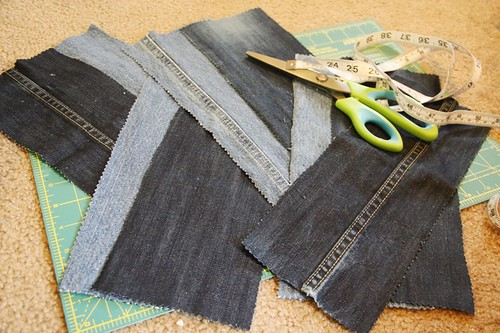 denim tote pieces ready to sew
