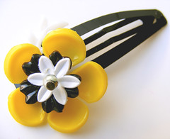 Yellow and Black Vintage Flowers Barrette