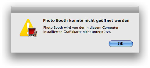 Photo Booth-Fehlermeldung