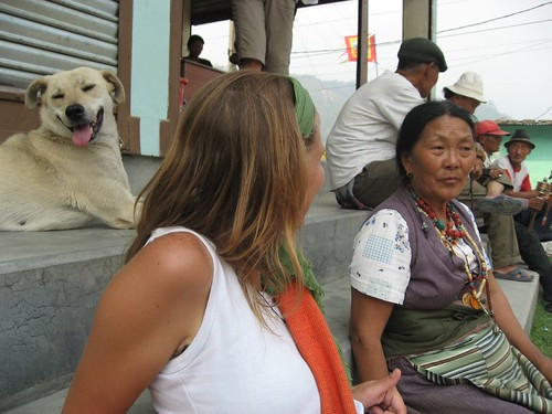 Marie chats with a Tibetan woman in the refugee center north of Pokhara