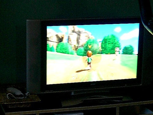 Wii Fit jogging using an exercise bike