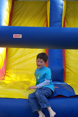 Coming down the bouncy slide