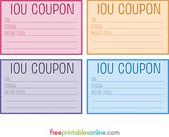 Free printable IOU coupons