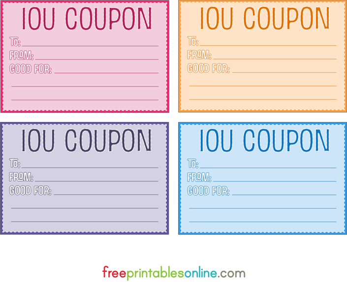 Colorful Free Printable IOU Coupons  Free Printable Vouchers Templates