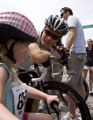 Roger and me: Lily gets some last minute instruction before last years CSC invitational kids race.