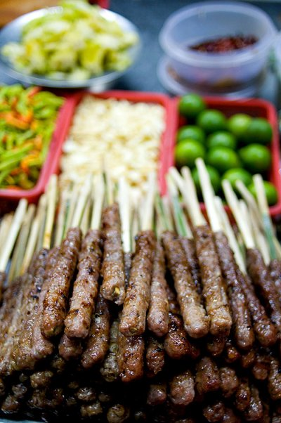 Naem nueang, a Vietnamese dish for sale at Mukdahan's evening market