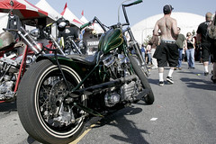 Green bobber (Transmission77) Tags: tattoo motorcycles queenmary longbeach pinup hotrods customs t77 bobbers inkironfestival transmission77com transmission77