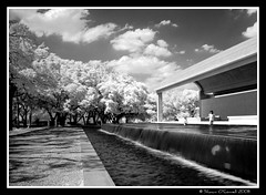 Playing in Fountain (Kimbell Art Museum) (Shawn O'Connell Photography) Tags: summer blackandwhite bw playing museum children ir nikon nikond70 culture infrared fortworth picnik hoya digitalinfrared hoya72 kimbellartmuseum culturaldistrict shawnoconnell shawnoconnellphotography