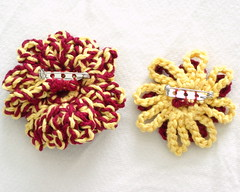 Crochet Flower and Vintage Button Gryffindor House Pride Brooches - Backs