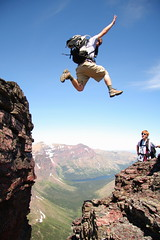 """Just enough flight!"" (elliot23) Tags: park travel summer two cliff mountain danger landscape flying jump montana hiking glacier national medicine epic p1f1"