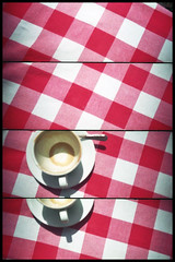 Cup Reading (Loewenhertz) Tags: red summer white berlin cup tasse coffee lomo lomography supersampler pattern sommer leer kaffee kariert tischtuch