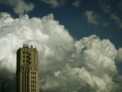 Towering clouds (James Jordan) Tags: city sky storm building tower weather clouds landscape community downtown cumulus elgin threat s700 cumulonimbus aplusphoto
