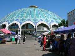 Bazar - Tashkent, Uzbekistan (Marjan de B) Tags: travel blue roof vacation people building architecture asia market mosaic 2008 uzbekistan tashkent deblaauwpix vogonpoetry