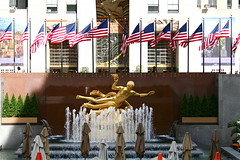 Prometheus Fountain, Rockefeller Center, New York City, sculpture by Paul Manship (marylea) Tags: nyc newyorkcity vacation sculpture newyork bronze facade manhattan flag rockefellercenter flags relief wisdom visiting ge gilded 2008 rca prometheus nycity leelawrie gebuilding rcabuilding paulmanship may28 prometheusfountain