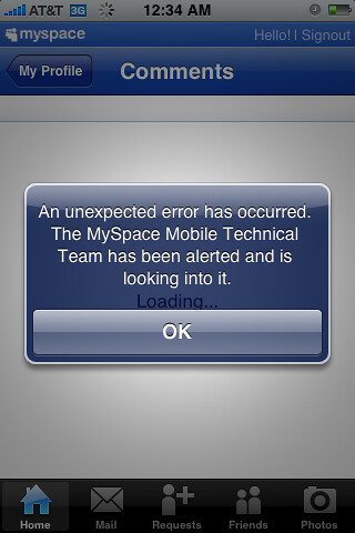 MySpace iPhone app error messge