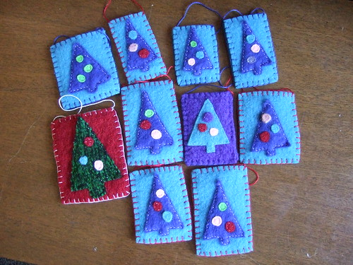 Felted sweater and blanket ornaments--Christmas trees for Handmade Ornament Swap 2008