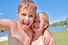 Brother-Sister Best Friends (Poopshe_Bear) Tags: boy summer vacation love girl smiling swimming children sister brother
