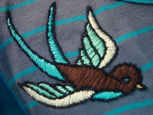 sparrow embroidery