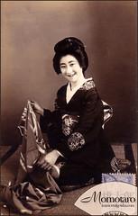 Momotaro - Geisha (Naomi no Kimono Asobi) Tags: japan vintage japanese photo kyoto antique postcard maiko geiko photograph geisha    kimono obi gion kamogawa pontocho   taisho momotaro    vintagephotograph  rppc     immortalgeishacom
