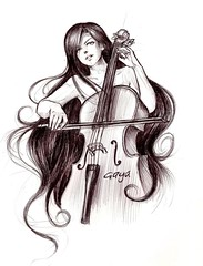 Cello Girl (Gaya _Q8) Tags: music anime girl pen sketch manga cello aplusphoto